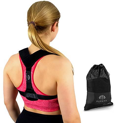 PURAVA Rückenstütze Rückenstabilisator Haltungskorrektur Geradehalter Rückentrainer Schultergurt Rückenbandage Schulterbandage Rückengurt Haltungstrainier Rückenstrecker Gerader Rücken