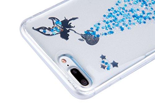 iPhone 7 Plus Hülle,iPhone 7 Plus Silikon Hülle Glitzer Tasche Handyhülle,SainCat iPhone 7 Plus Ultra dünne Silikon Hülle Engel Muster Schutzhülle Stern Bling Glitzer Durchsichtig Schutzhülle Stoßfest Engel-Blau