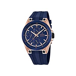 Festina Men's Quartz Watch with Blue Dial Analogue Display and Blue Rubber Strap F16835/2