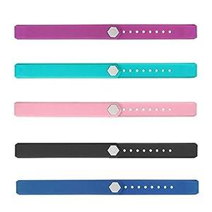 AITOO ID115 Bandas de repuesto, TPU correa de repuesto correas para Fitness Tracker Watch ID115 / ID115HR muñequeras, 5 colores - negro / azul / púrpura / verde / rosa 2