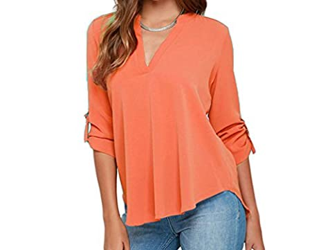 Bling-Bling Womens Orange V Neck Loose Fitting Chiffon Blouse Size