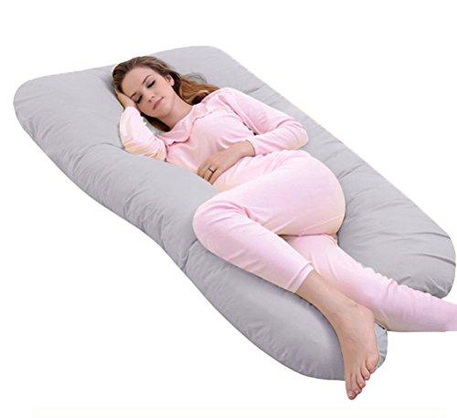 Angel U-förmiges Schwangerschaftskissen Lagerungskissen mit Abnehmbarem und waschbarem Bezug aus Baumwolle, 140*78 cm (Regulär, Grau)