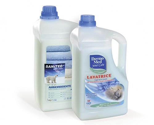 Detersivo Lavatrice Liquido 5 litri (2 taniche) + Ammorbidente Lavatrice Liquido 5 litri (2 taniche) - Antibatterico Marca Dermomed - Profumazione Muschio Bianco - Lotto Risparmio