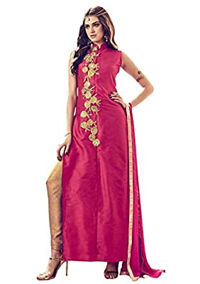Anarkali ( Shoponbit Pink Colour Banglori Silk Embroiderd Semi-Stitched Party Wear Salwar Suit ) - Pink Type: Semi-Stitched