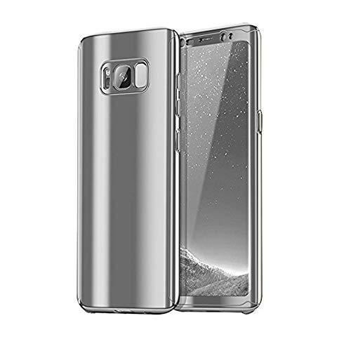 Kompatibel mit Samsung Galaxy S8 Hülle Mirror Case Spiegel Handyhülle PU Leder Flip Case Cover Handy Schutz Echtleder Tasche Schutzhülle für Samsung Galaxy S8 Plus (Samsung Galaxy S8, Silber)