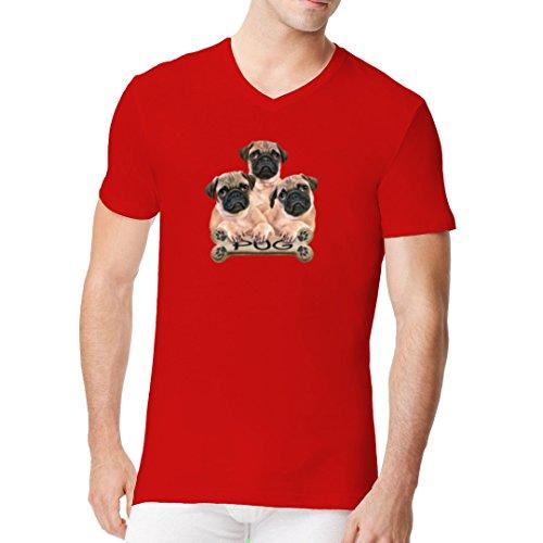 Im-Shirt - Hunde Shirt: Pugs - 3 Möpse cooles Fun Men V-Neck - verschiedene Farben Rot