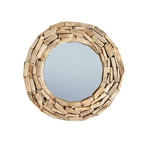 WSC Espejo de Madera Maciza Hecho a Mano Puro Espejo Decorativo Minimalista nórdico Pegatinas de Pared Espejo de Suelo decoración Creativa