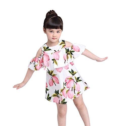 Sommerkleider Mädchen, Longra Kinder Kleider Ärmellos Schulterfreies Kleider Volant Kleider mit Lemon Druckkleider Mädchen Kleider Prinzessin Kleider Schöne Kinder Kleidung (Pink, 110CM 3Jahre) (Kleidung Kinder Schöne)