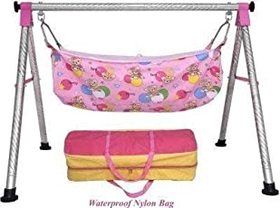 A TO Z HUB Baby Boy's And Girl's Portable Folding Swing Cradle,Pink