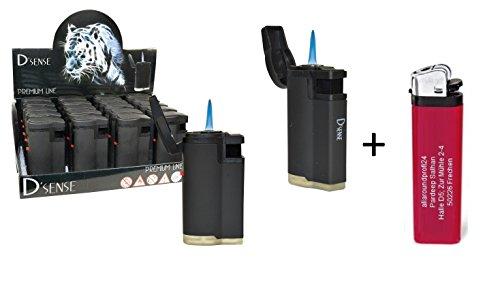 "4 x D´Sense Black + 1 gratis Feuerzeug \""allaroundprofi24\"" Feuerzeug Sturmfeuerzeug Jet Flamme Taschenfeuerzeug Gasfeuerzeug"