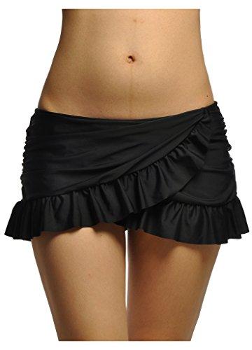 OUO Badeshorts Damen UV Schutz Bikinirock Schwimmen Bikinihose Wassersport Boardshorts Schwarz L