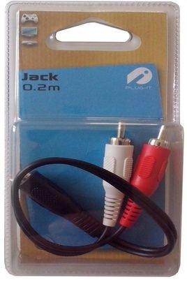 Lineaire AD205 Câble adaptateur femelle/2 x RCA mâle 3,5 mm 0,20 m Noir