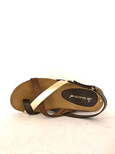 Sandali bassi infradito cc912 in pelle zeppa comoda cuoio oro MainApps testa di moro