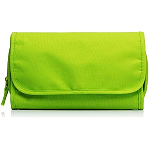 Travel Portable Shaving Kit Toiletry Bath Cosmetic Bag Organizer Beauty Case Tessuto Verde - by LC Prime®
