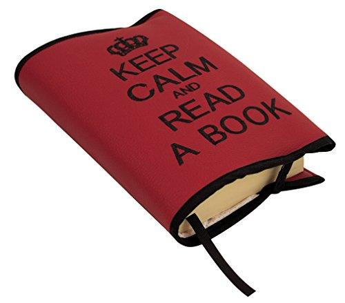 Custodia protettiva o copertina per libri. Keep calm and read a book. Vari colori disponibili. (Rosso/Nero)