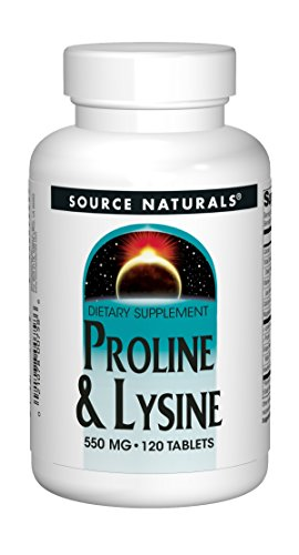 Source Naturals | L-Proline L-Lysine | 275 mg / 275 mg | 120 vegane Tabletten | sojafrei | glutenfrei (Naturals Source C Vitamin)