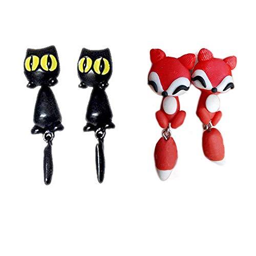 rosa Tia-Ve 1 paio carino 3D Cat Design Ear Stud Chic Ear Stud per donne ragazza