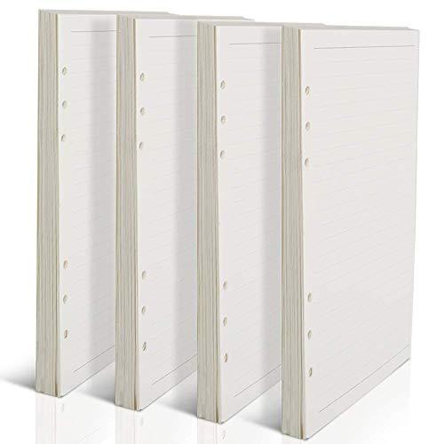 WENTS 4PCS A5 6-Ring Binder Planer Refill Papier Dot Grid Refills für Zeitschriften Notizbuch Tagebücher Einsätze, 21 x 14.2 cm