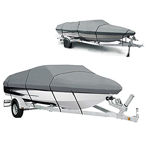Boat Cover - Heavy Duty 210D V-Hull Waterproof Speedboat Cover for 14-16ft Ship Speedboat Fishing Ski with Carrying Bag