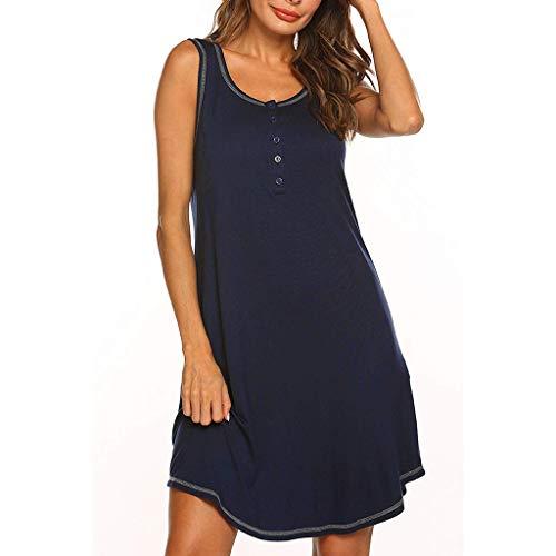 Conquro Mujeres Embarazadas sin Mangas Color sólido Vestido de Lactancia Multifuncional Falda del Chaleco Vestido de Lactancia Maternidad de Noche Camisón Mujeres Ropa de Dormir Premamá Pijama