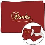 5 Dankeskarten im Set | DIN A6 |Danke Komplett-Set aus Doppelkarte & Umschläge & Einleger, stilvolle & schlichte Danksagung | Dunkel-Rote Karten und Hüllen mit gold-metallic Schrift