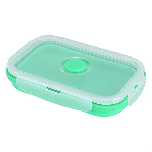 Fdit 500ml Caja de Almuerzo Silicona Plegable Portátil Comda Grada para Contenedor de Almacenamiento de Alimentos Socialme-eu(verde)