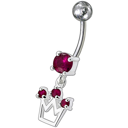 Rote Kristall Stein Trendy Krone Design Sterling Silber Bauch Bars Piercing (Belly Button Krone Piercing)