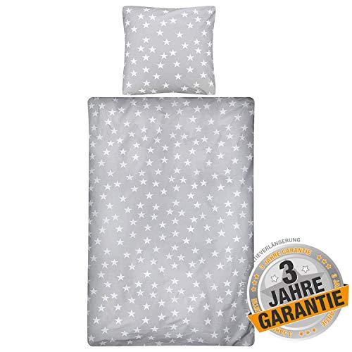 Aminata kids - Premium Bettwäsche-Set Sterne grau, weiß 135-x-200 cm Stern-Motiv, Damen, Männer, Jugendliche - Baumwolle & Reißverschluss - Sternchen, Stars, Silber, Grey