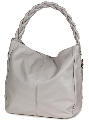 Sac besace italien Sac épaule à anse tressée en cuir nappa souple (33x33x15cm), Colour:Noir Gris (Grey)