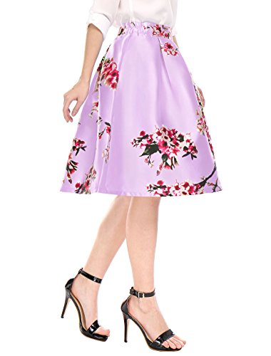 Allegra K Allegra K Femme Fleurs taille haute jupe plissée Midi ligne purple