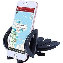 iVoler Soporte Móvil Coche para Ranura de CD de Coche con 360°Rotación Universal Montaje para iPhone X / 8 / 8 Plus / 7 / 7 Plus / 6(s) / 6(s) Plus / SE / 5s / 5, Samsung Galaxy S9 / S9+ / S8 / S8+ / S7 / S7 Edge / S6 / S5, Huawei, LG, Motorola, Xiaomi, BQ Aquaris, Sony y Android Móviles Dispositivo GPS y más Ancho de 48-100 mm (Negro)