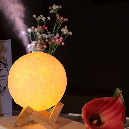 Zzyff Villa Lunar Luftbefeuchter USB-Lade LED-Licht Ultraschall Stumm Luftreiniger Weiß Rund Weiß Hellgelb Warmweiß Licht Nachtlicht Tischlampe Dauerhaft