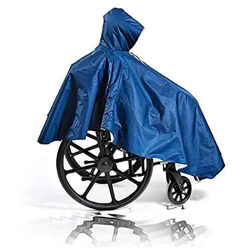 LULUDP Regenjacken Wasserdichte Regenjacke Poncho Rollstuhl Poncho Erwachsene ältere Senioren Rollstuhl Cape Heavy Duty Wiederverwendbare Navy Volle wasserdichte Abdeckung mit Reißverschluss Hood Wass