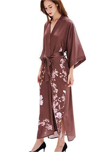 prettystern Damen Boden-lang 100% Seide gemusterter Kimono Morgenmantel Robe - floral Sakura braun - Florale Geisha Kostüm