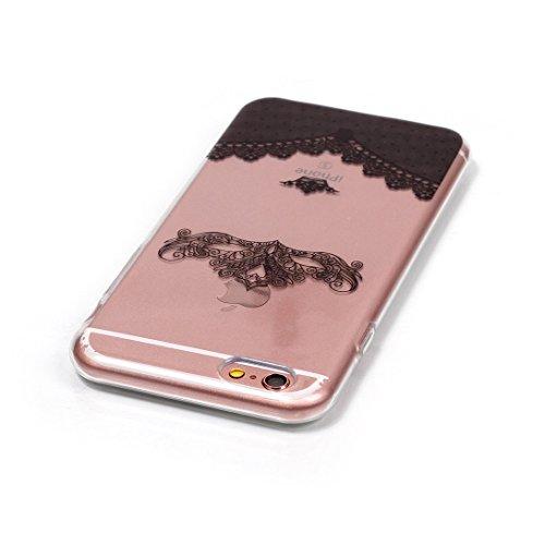 Pheant®[4 in 1] Apple iPhone 6/6S(4.7 pouces) Coque Gel en Souple Silicone Transparent Cas avec Verre Trempé Protecteur d'écran Stylet Bouchon Anti-poussière(Coeur Plume) Couronne Impériale