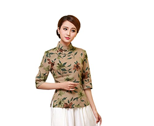 ACVIP Rétro Veste de Tang Chemise Imprimé Fleur Blouse Style Chinoise pour Femme, Plusieurs Couleurs D