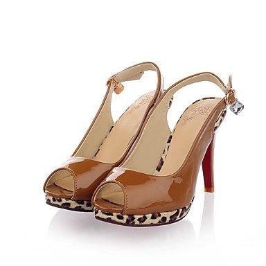 LvYuan Da donna-Sandali-Formale Casual Serata e festa-Altro-A stiletto-PU (Poliuretano)-Nero Marrone Rosso Tessuto almond Black