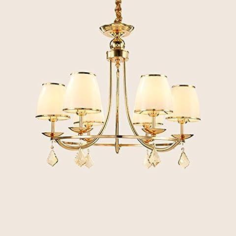 Lampes À Économie D'Énergie D'Or Cristal Salon Lustre Salle De Restaurant Chambre Hôtel Continental Fer Lustre En Verre De Luxe Avec Source De Lumière 6