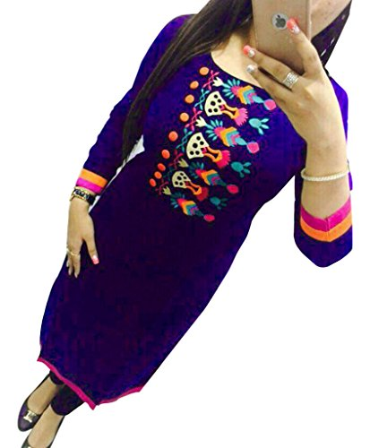 Purple Georgette Embroidered Un-Stitched Straight Kurti  available at amazon for Rs.419