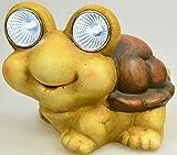 Ars-Bavaria lustige Schildkröte mit LED Leuchtaugen Deko für den Balkon und Garten