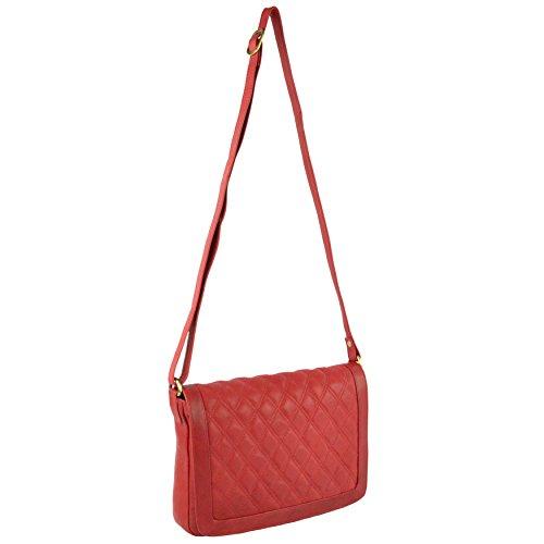 GiGi-Borsa a tracolla in pelle trapuntata, morbida per GiGi OTHELLO Collezione classica Rosso (rosso)