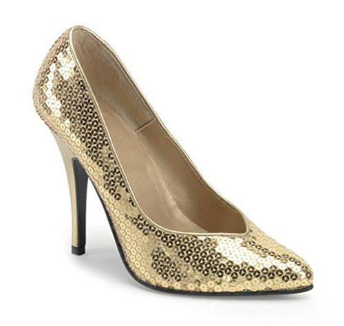 Pleaser Seduce de 420SQ Femme Pumps Or - Pailletten Gold