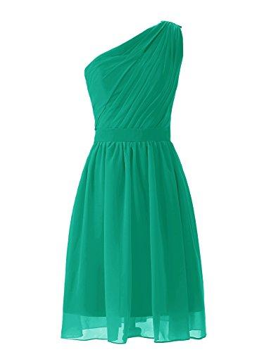 Dresstells, Robe de demoiselle d'honneur épaule asymétrique mousseline longueur au genou Vert