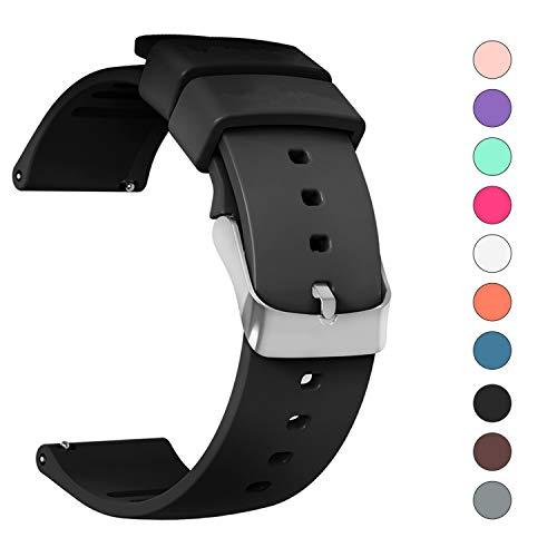 JIELIELE Uhrenarmband Edelstahl Gürtelschnalle 22mm schwarz Kautschuk Armband für Samsung Gear S3 Frontier / S3 Classic/Gear 2 / LG Watch/Pebble / Moto 360 2nd Gen 46mm (22mm, Black)
