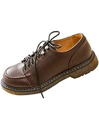 SXSHUN Mocasines para Niñas Zapatos para Uniforme Colegio con Cordones Piel de Vacuno
