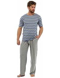 Tom Franks Camiseta con tirantes y pantalón corto de algodón hombre Conjunto de salón con pijama azul marino y mezclilla grande