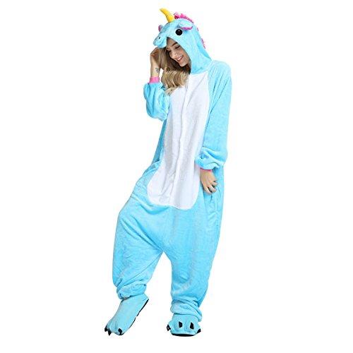 WhiFan Tier Pyjama + Paw Baumwolle Schuhe,Einhorn Overall Kostüm Tier Cartoon Fasching Halloween Kostüm Sleepsuit Jumpsuit Erwachsene Schlafanzug Unisex Cosplay (Halloween Schuhe)