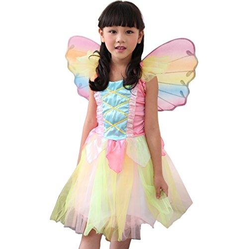 D'amelie Prinzessin Kostüm Kinder Glanz Kleid Mädchen Weihnachten Verkleidung Karneval Rollenspiele Party Halloween (Kostüm Figur Nes)