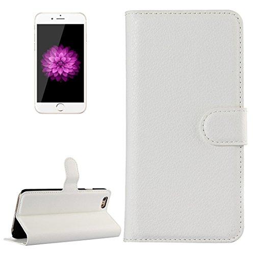 Phone case & Hülle Für iPhone 6 Plus / 6s Plus, Litchi Texture Horizontale Flip Leder Tasche mit Halter & Card Slots & Wallet ( Color : White ) White
