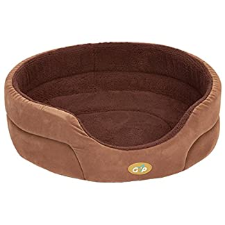 Gor Pets Washable Dog Bed Stylish Comfortable Removable Base - 18-inch (Beige Paws Fleece) 7